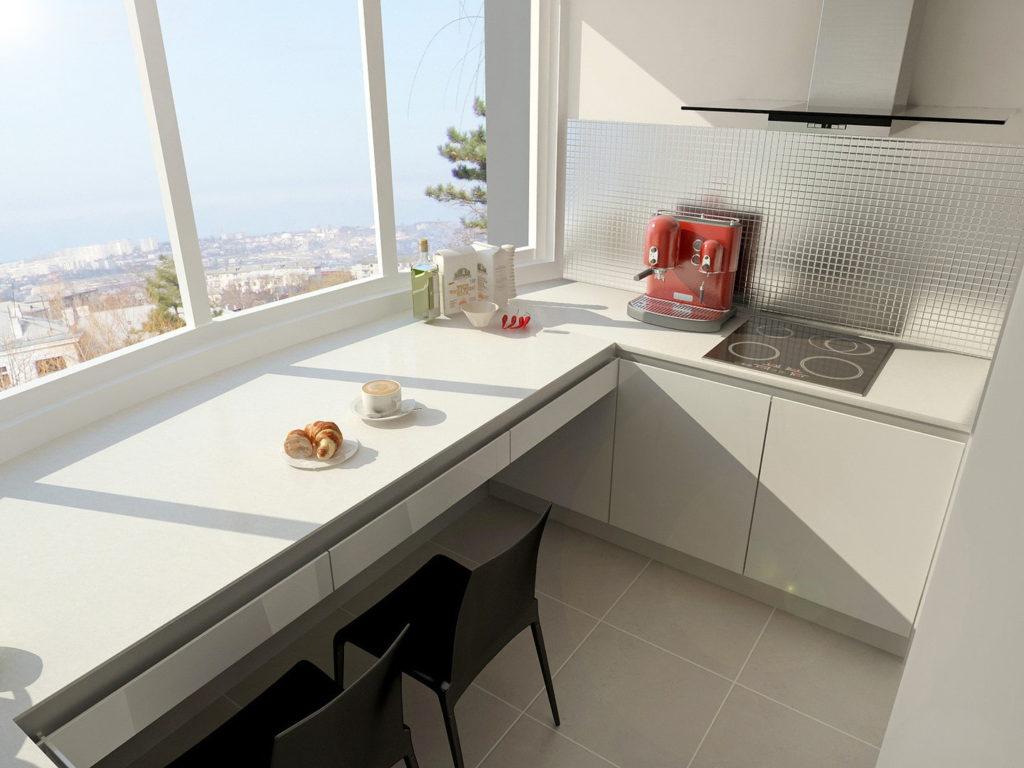 Пример расположения кухонной плиты на балконе