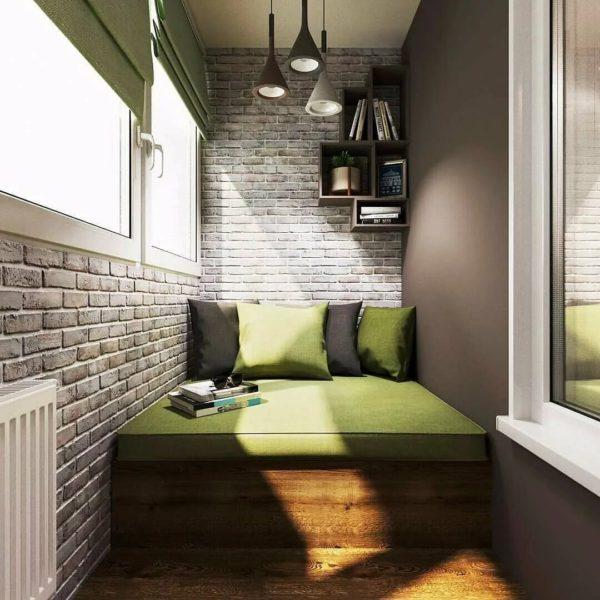 Спальня на лоджии в стиле лофт