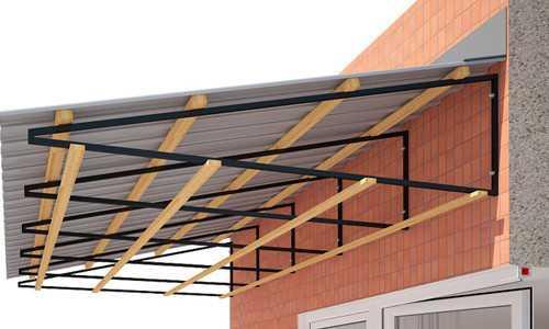 Крыша балкона из профлиста