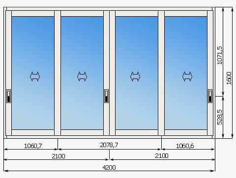 Схема холодного остекления балкона