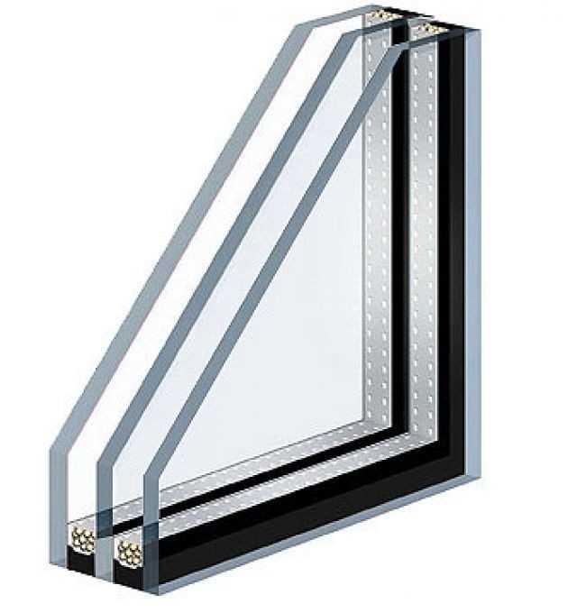 Безопасный вид стеклопакета - трехкамерный